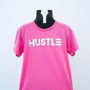 "Silver ""Hustle"" on Pink"