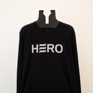 Silver logo on black long sleeve shirt