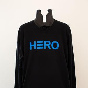 Blue logo on black long sleeve shirt