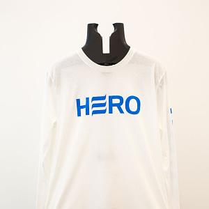 Blue logo on white long sleeve shirt