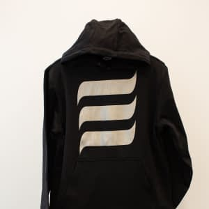 Black Hoodie with Silver 'E' Wave