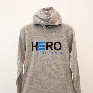 Grey long sleeve shirt with hoodie