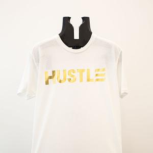 """Gold """"Hustle"""" on White"""